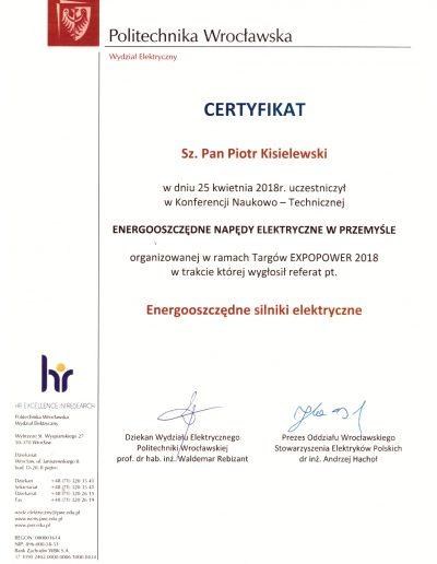 Certyfikat Konferencja N-T Energooszczędne napędy elektryczne w przemyśle